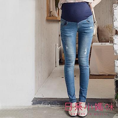 日系小媽咪孕婦裝-孕婦褲~刷破車線造型牛仔褲 S-XXL