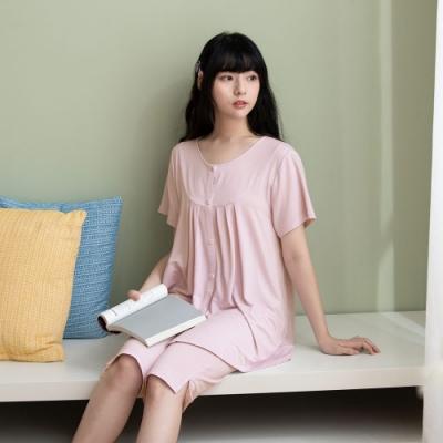 華歌爾睡衣-睡眠研究所 M-LL短袖家居七分褲裝(淡紫) 冰涼紗