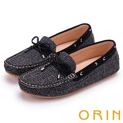 ORIN 樂活度假 個性格紋布面平底帆船鞋-黑色
