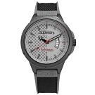 Superdry 極度乾燥 復古 軍事風潮 日本機芯 尼龍矽膠手錶-灰x黑/45mm