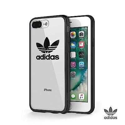 adidas iPhone 7/8 Plus 電鍍邊框TPU透明軟殼 - 黑