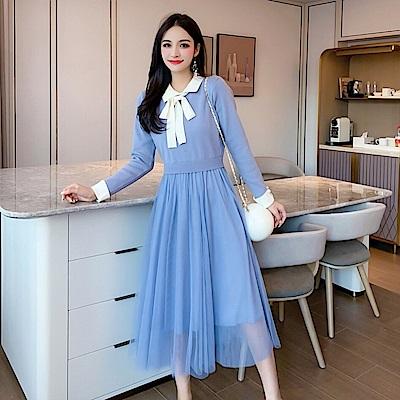 DABI 韓國小香風蝴蝶結網紗拼接針織長袖洋裝