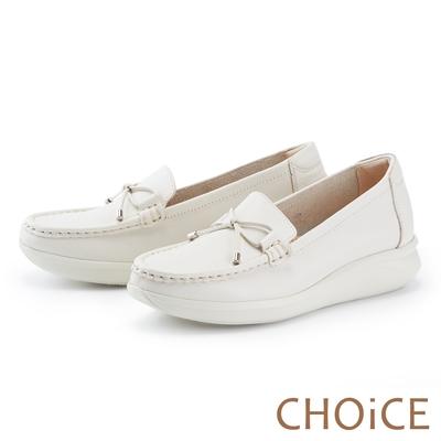 CHOiCE 輕量縫線牛皮厚底 女 休閒鞋 白色