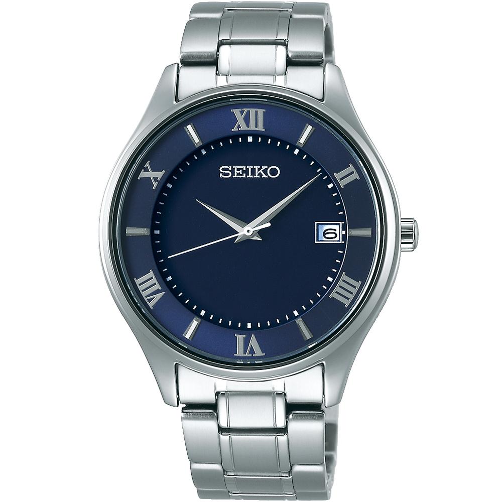 SEIKO精工 SPIRIT 鈦金屬 太陽能簡約男錶(SBPX115J)-藍/40mm
