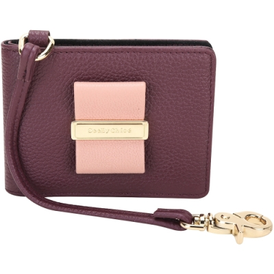 SEE BY CHLOE Rosita 撞色蝴蝶結金屬釦帶對折証件/卡片夾(紫紅色)