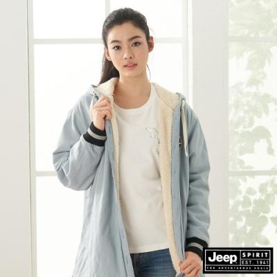 Jeep 女裝 刷毛保暖連帽外套-天空藍