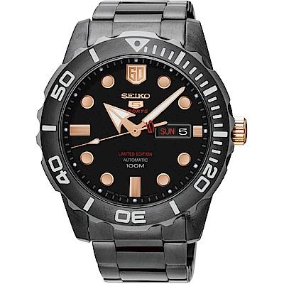 SEIKO 精工 5號盾牌60週年限定版日曆機械錶(SRPA33J1)-黑/45mm