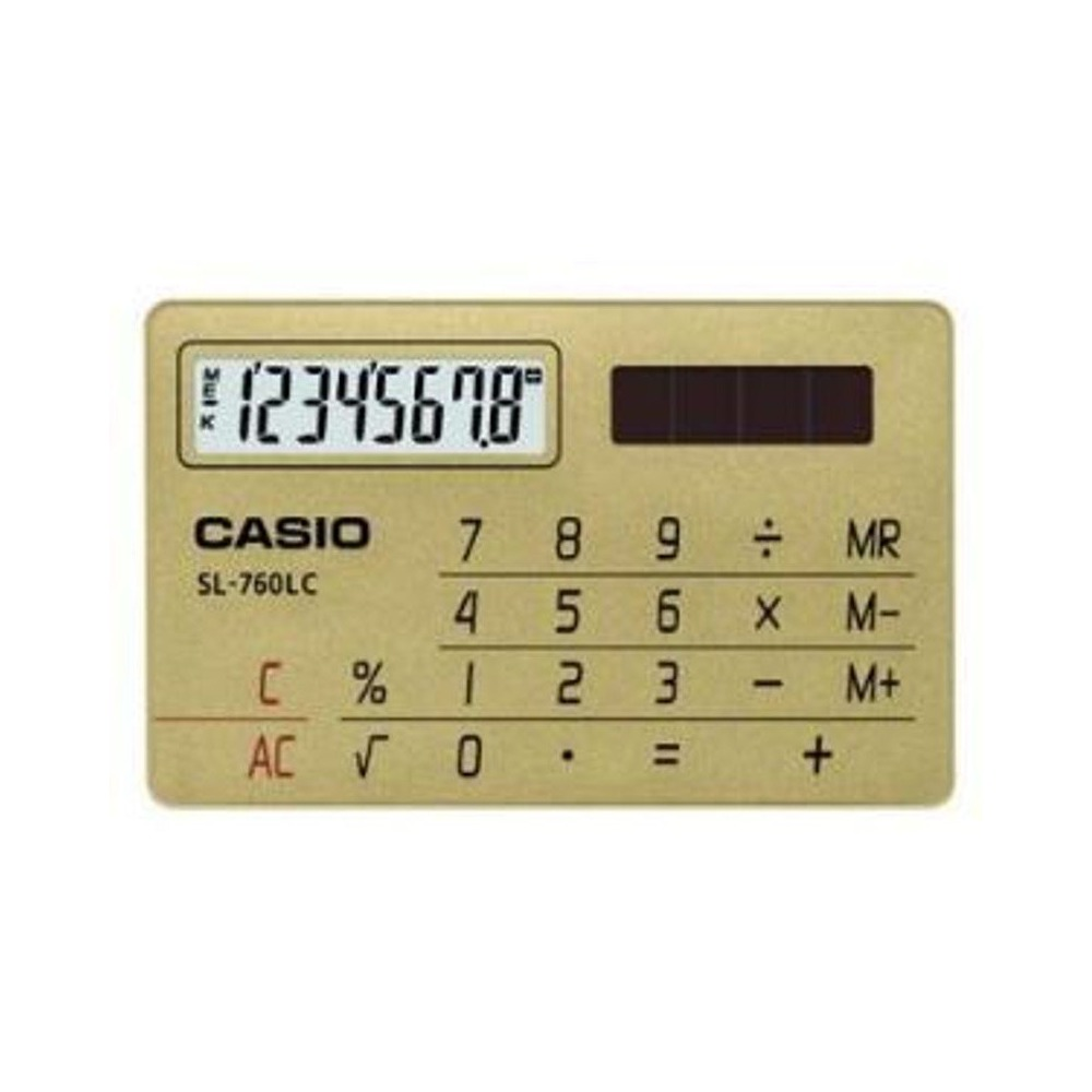 CASIO  國家考試專用機8位數名片型設計造型計算機-金 (SL-760LC-GD)