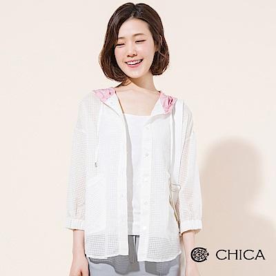 CHICA 旅行日記透膚格紋連帽外套(3色)