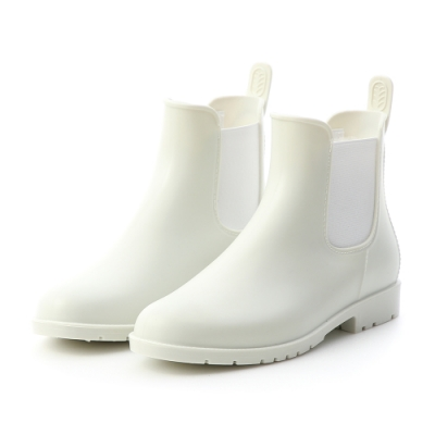 D+AF 晴雨二穿.側鬆緊切爾西短雨靴*白