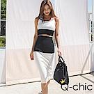 正韓 撞色針織短版背心+五分窄裙套裝 (黑色)-Q-chic