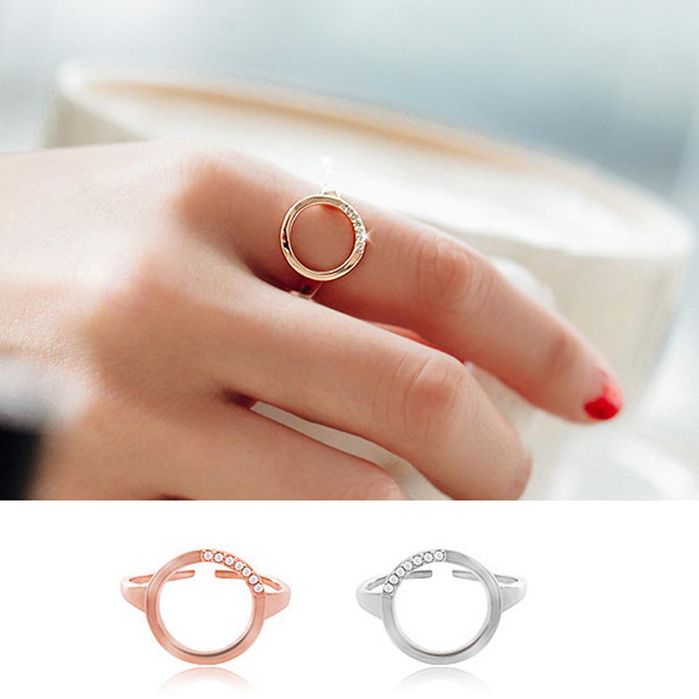 梨花HaNA 韓國輕奢圓型輕點飾鑽開口戒指