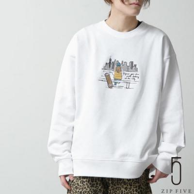 ZIP日本男裝 手繪風插畫圓領運動衫 (6色)