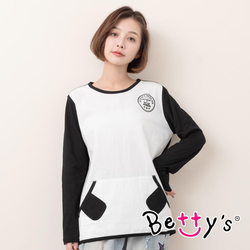 betty's貝蒂思 圓領拼布跳色長袖T恤(黑色