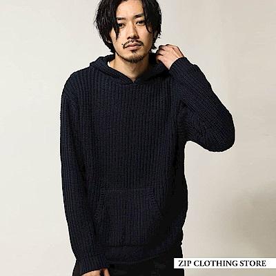 畦編套頭連帽針織衫(8色) ZIP日本男裝
