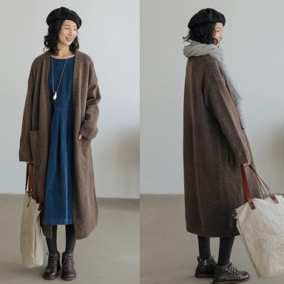 犛牛絨羊毛保暖針織開衫外套中長版毛衣寬鬆-設計所在