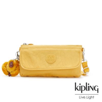 Kipling 鮮豔太陽黃翻蓋肩背側背包-VECKA STRAP