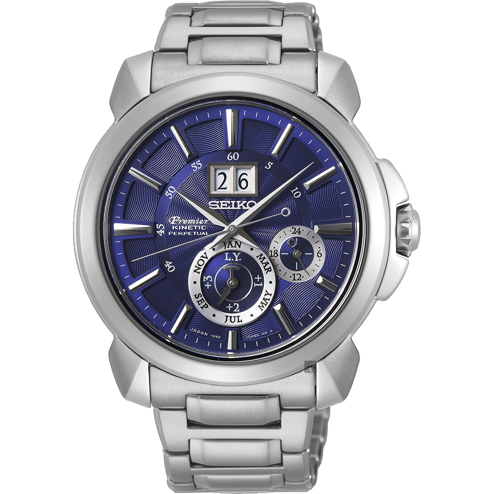(無卡分期12期)SEIKO 精工Premier人動電能萬年曆手錶(SNP161J1)-藍x銀色