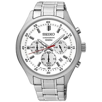 SEIKO 質感型男三眼計時石英腕錶(SKS583P1)-白/43mm