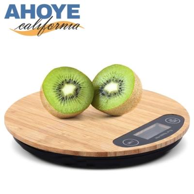 Ahoye 1g/5kg 竹面廚房料理秤 電子秤 (非交易使用)