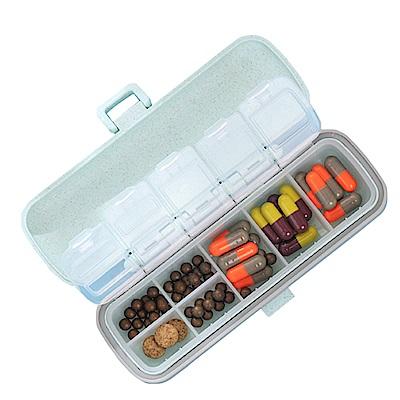 PUSH!居家生活用品可攜式分裝小藥盒旅行隨身藥盒S63-綠色