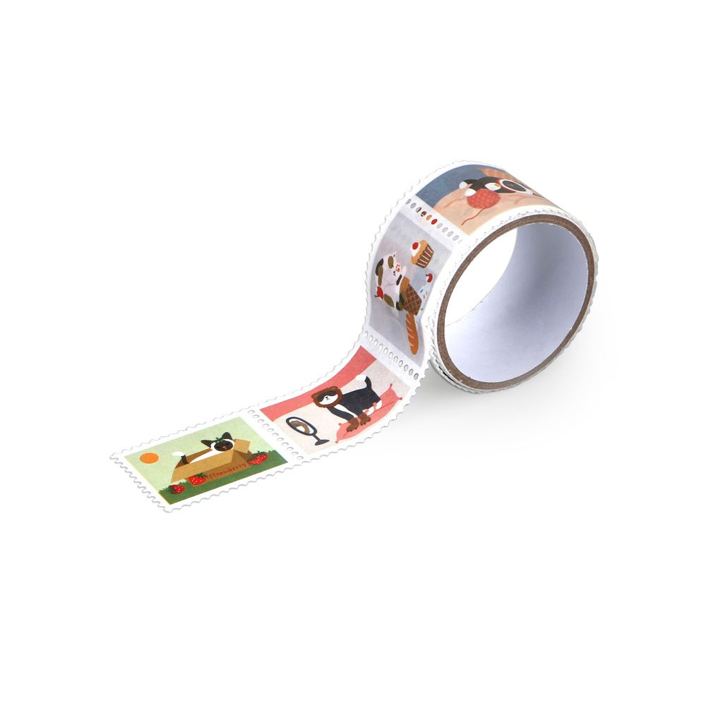 Dailylike 郵票造型紙膠帶(單捲)-17 貓日常