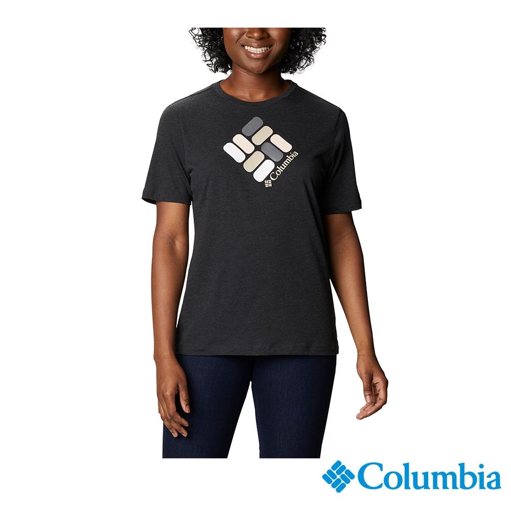 Columbia 哥倫比亞 女款- LOGO短袖上衣-3色 UAR31200 (黑色)