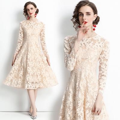 玩美衣櫃浪漫清新微透蕾絲勾花洋裝S-2XL-M2M