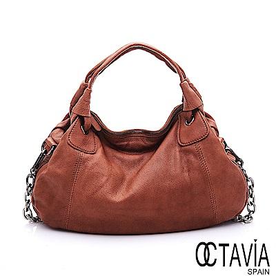 OCTAVIA 8 真皮 - 大鍊條 法式空氣仕女手提肩背鍊條二用包 - 馬賽棕