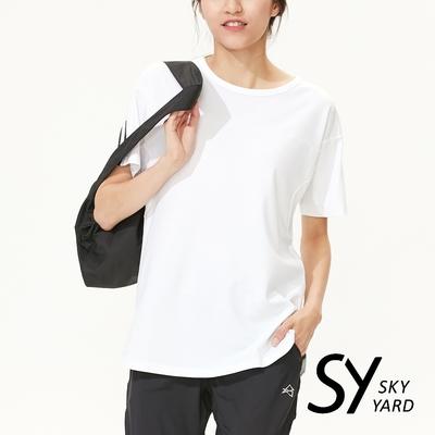 【SKY YARD 天空花園】休閒百搭英文字印圖長版造型上衣-白色