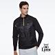 【Lynx Golf】男款遠紅外線保暖刷毛異材質剪接口袋款山貓織標長袖立領POLO衫-黑色 product thumbnail 1