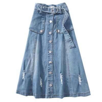 金屬鈕扣開叉質感有型時尚修身牛仔裙XL-5XL-WHATDAY