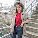 袖反褶配色格紋質感西裝外套-OB嚴選