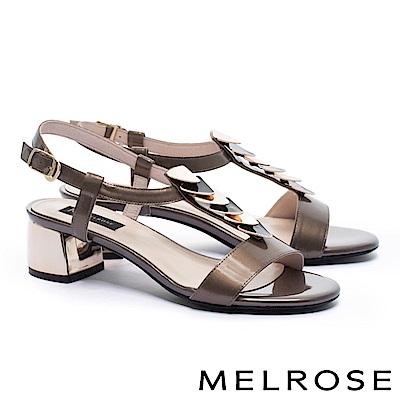 涼鞋 MELROSE 時尚質感雙色幾何飾片珠亮光羊皮粗高跟涼鞋-咖