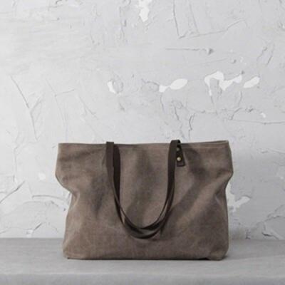 米蘭精品 肩背包棉麻側背包-簡約純色大容量休閒女包情人節生日禮物73sx41