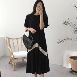 La Belleza圓領棉質下擺拼接滾邊配色百摺裙擺長洋裝