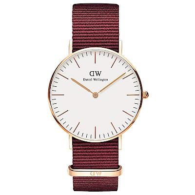 DW Daniel Wellington 蘿絲琳寶石紅NATO錶帶石英腕錶-金框/36mm
