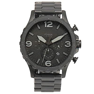 FOSSIL 消光黑三眼計時大錶盤男腕錶-(JR1401)-50mm