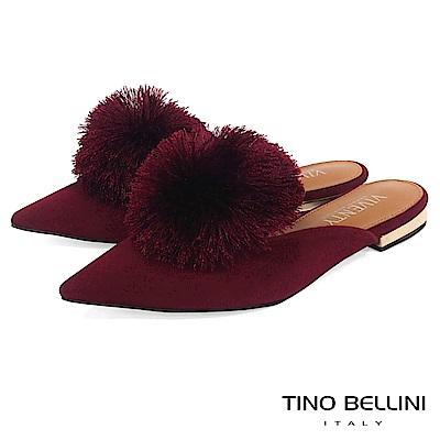 Tino Bellini宮廷風尚蓬蓬線球穆勒鞋_酒紅