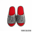 Yvonne Collection 柏林開口室內拖鞋-暗灰/紅M