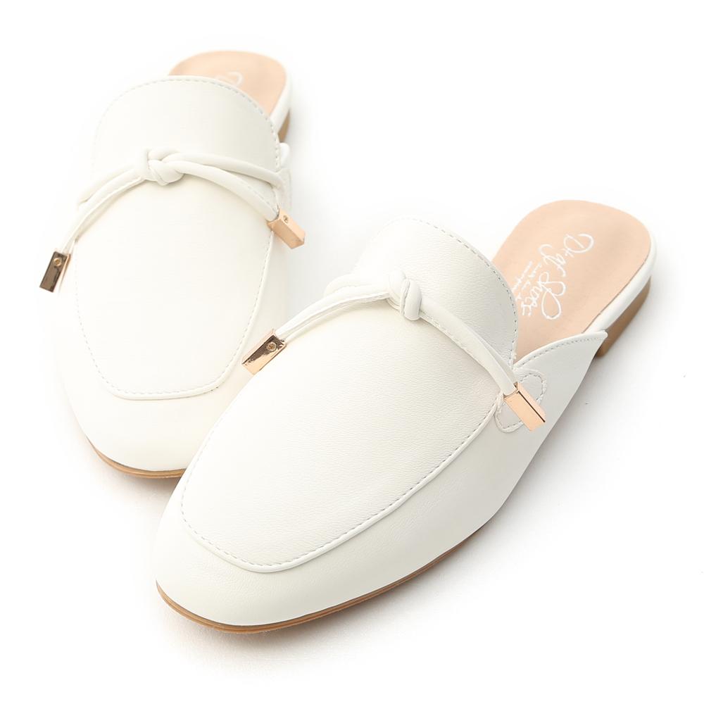 D+AF 輕快節奏.小金飾綁結平底穆勒鞋*白