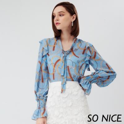 SO NICE時尚鎖鏈印花雪紡上衣