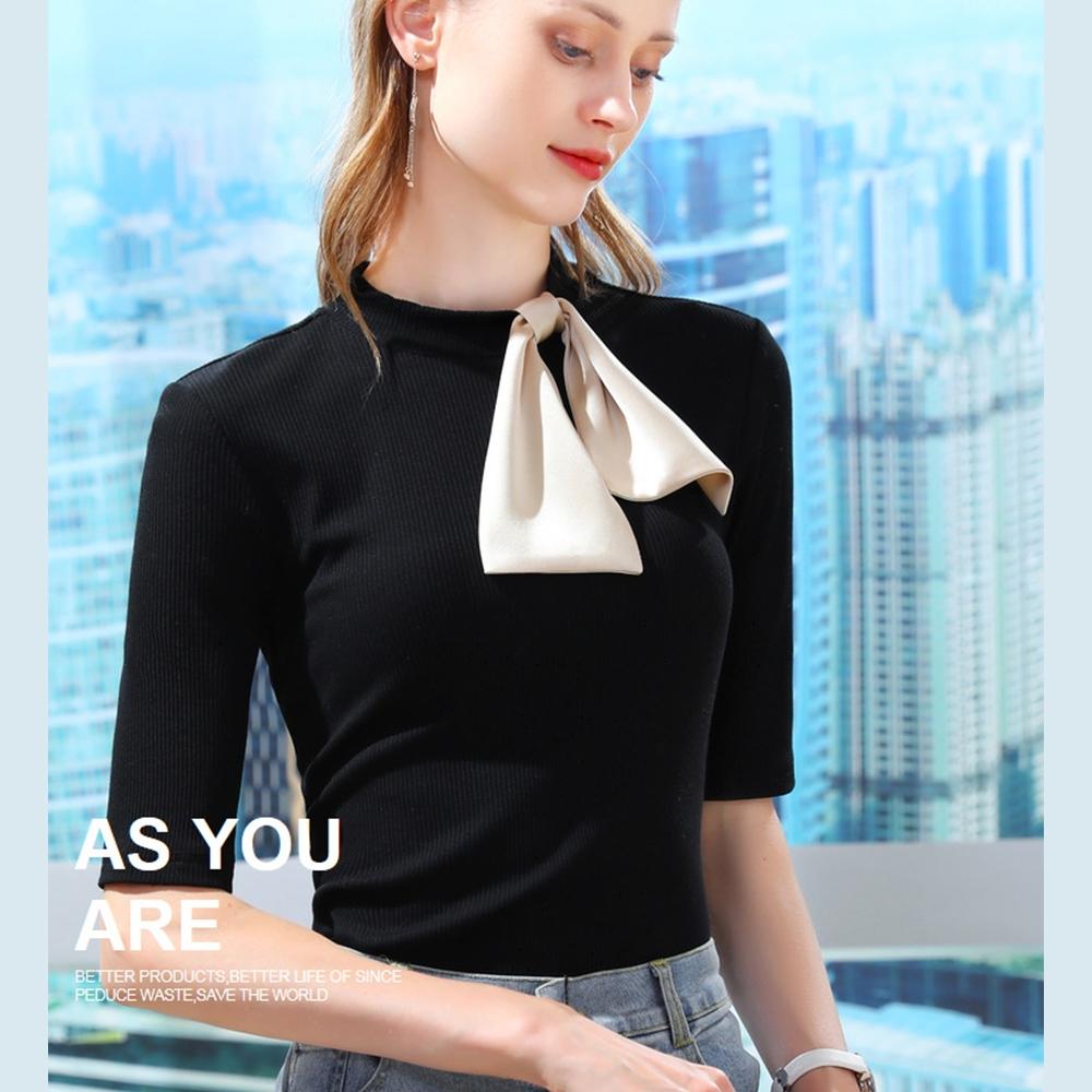 專注內搭-莫代爾中袖T恤彈力棉立領素色蝴蝶結上衣(S-2XL可選)