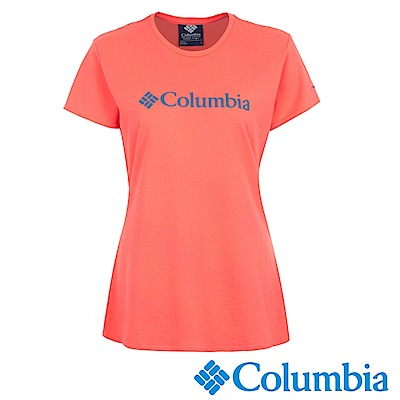 Columbia 哥倫比亞 女-LOGO快排短袖上衣粉紅-UAR19730PK