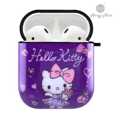 三麗鷗 AirPods防塵耐磨保護套 凱蒂貓 紫鬱玫瑰