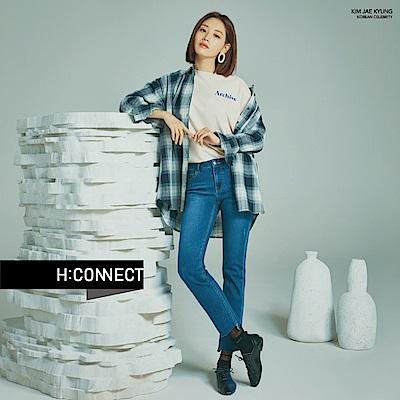 H:CONNECT 韓國品牌 女裝-復古感格紋襯衫-藍