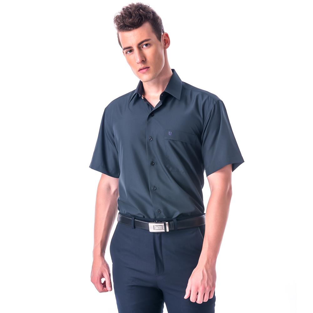 金‧安德森 經典格紋繞領黑底黑細格吸排短袖襯衫