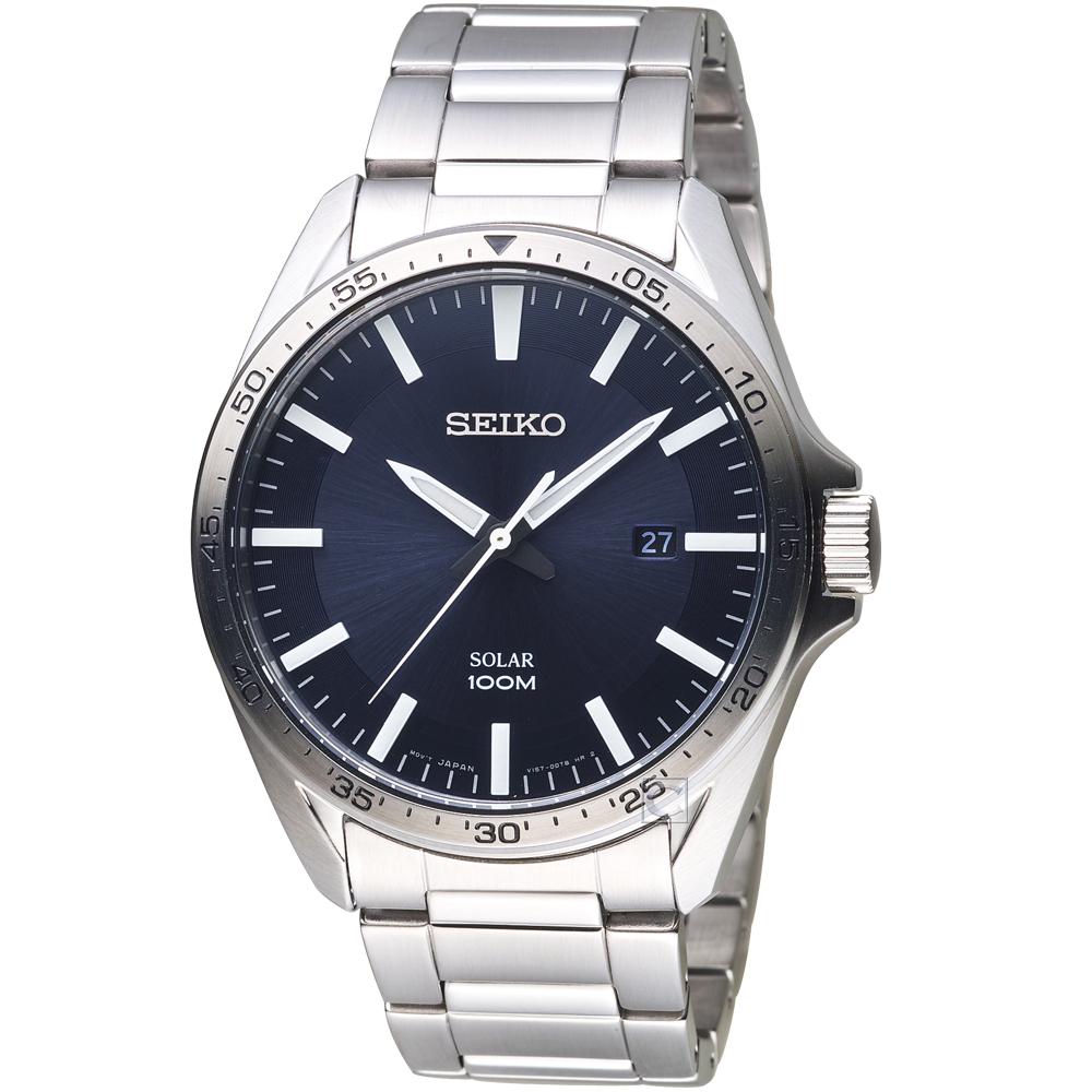 SEIKO精工SPIRIT潮流時尚太陽能腕錶(SNE483P1)-藍