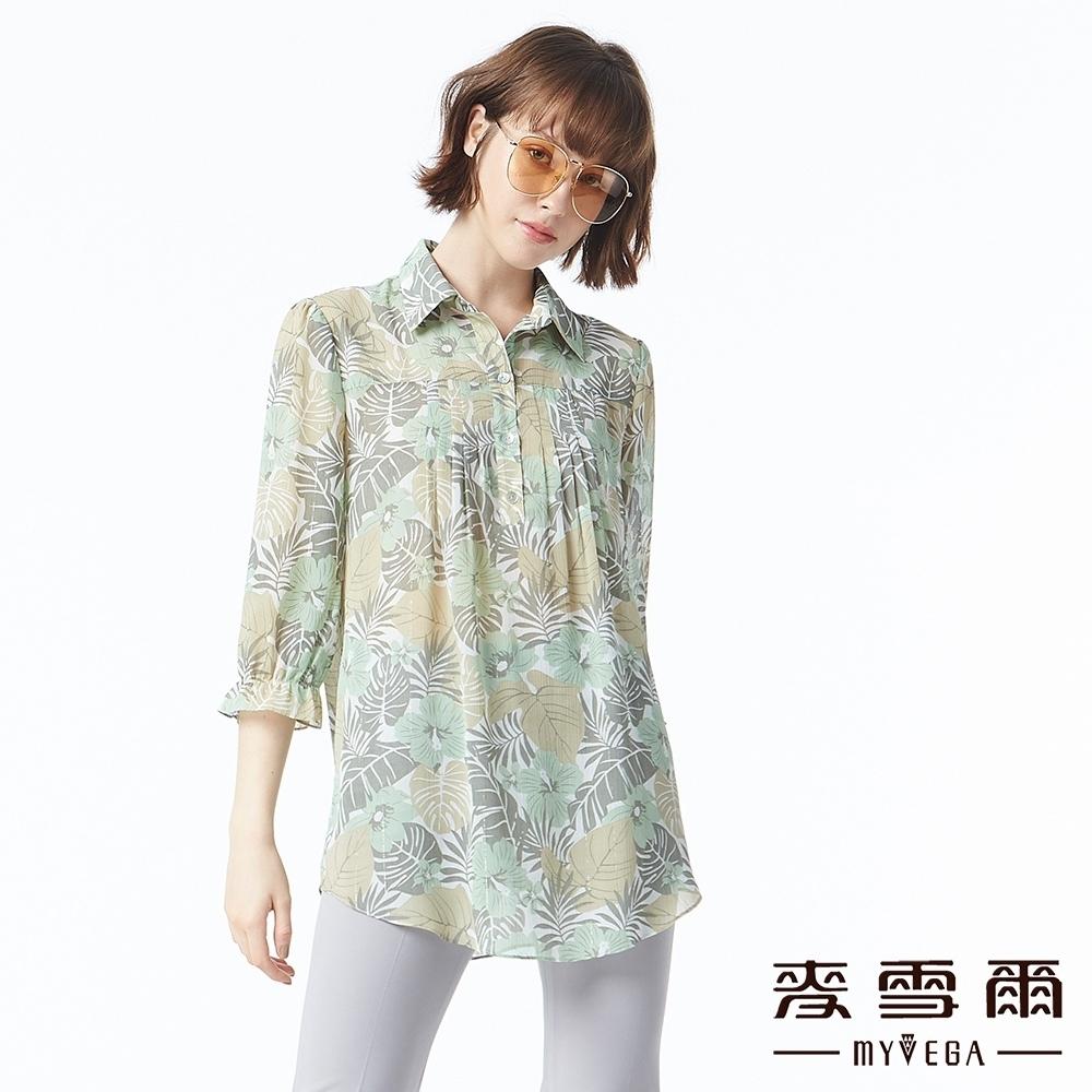 麥雪爾 南洋風樹葉印花五分袖長版上衣