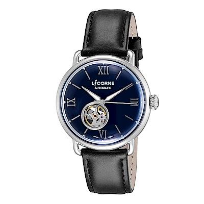 LICORNE 力抗錶 光陰系列半鏤空設計手錶 銀×藍/42mm